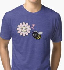 Kawaii Bumble Bee & Kawaii Daisy | Pink Blossom Flower Tri-blend T-Shirt