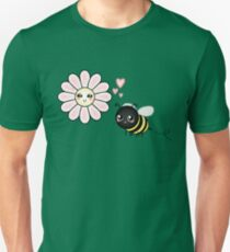 Kawaii Bumble Bee & Kawaii Daisy | Pink Blossom Flower Slim Fit T-Shirt