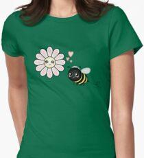 Kawaii Bumble Bee & Kawaii Daisy   Pink Blossom Flower Fitted T-Shirt