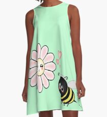 Kawaii Bumble Bee & Kawaii Daisy | Pink Blossom Flower A-Line Dress