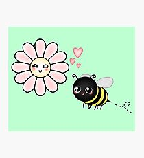 Kawaii Bumble Bee & Kawaii Daisy | Pink Blossom Flower Photographic Print