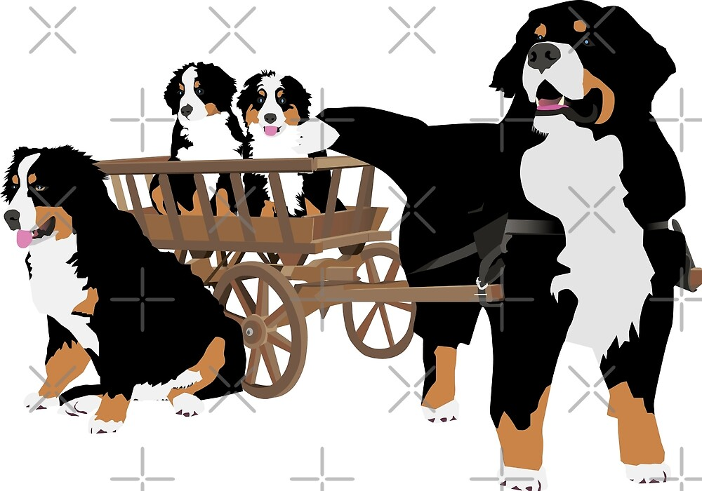 Bernese Mountain Dog Family with Wooden Wagon