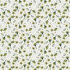 Crocuses flower   Light Gray, Green Blue color   Repeat pattern by DenesAnnaDesign