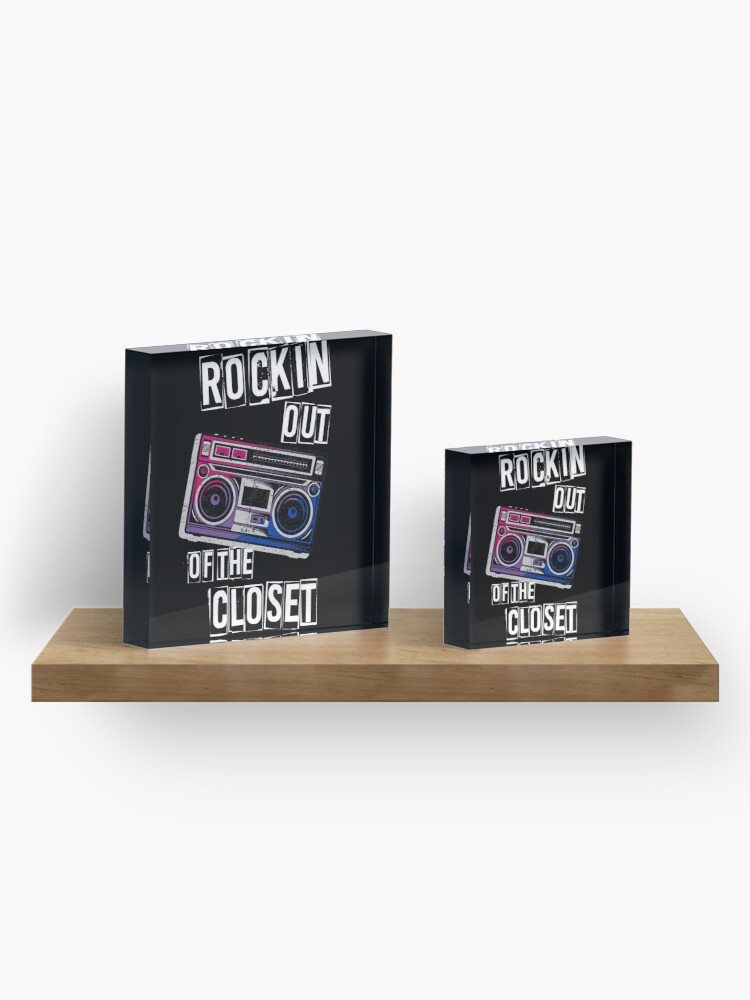 Alternate view of Bi Pride Rockin Out Of The Closet Bisexual LGBTQ Parade Gift Acrylic Block