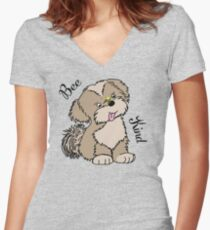 Bee Kind Sweet Lhasa Apso Dog Design  Fitted V-Neck T-Shirt