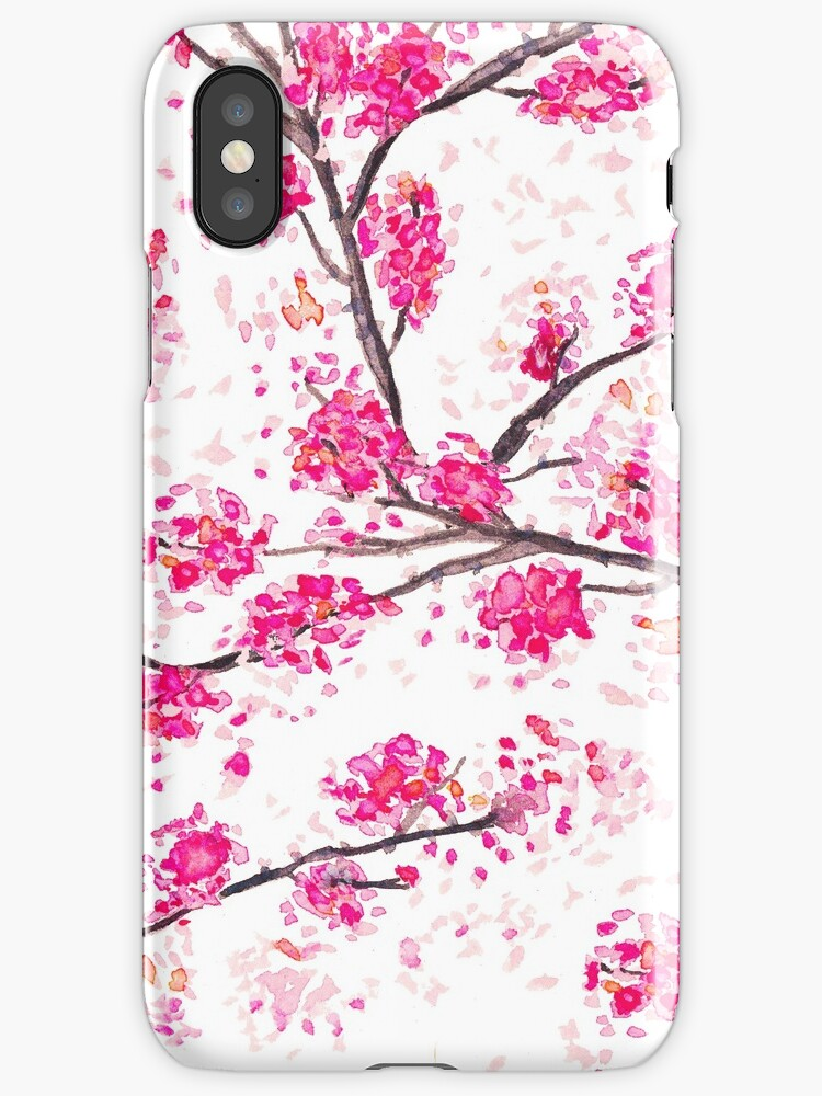 Pink cherry blossoms Oriental Sakura watercolor  by GirlyTrend