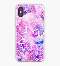 Purple blue henna boho floral mandala pattern iPhone Case