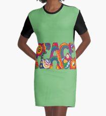 Psychedelischer Frieden T-Shirt Kleid