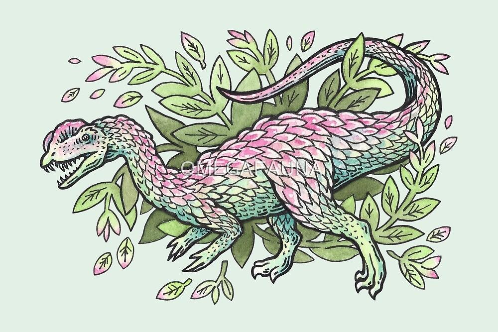 Dilophosaurus Bouquet | Dinosaur Plant Floral Watercolor by OMEGAFAUNA