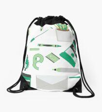Green Art Supply Print Drawstring Bag