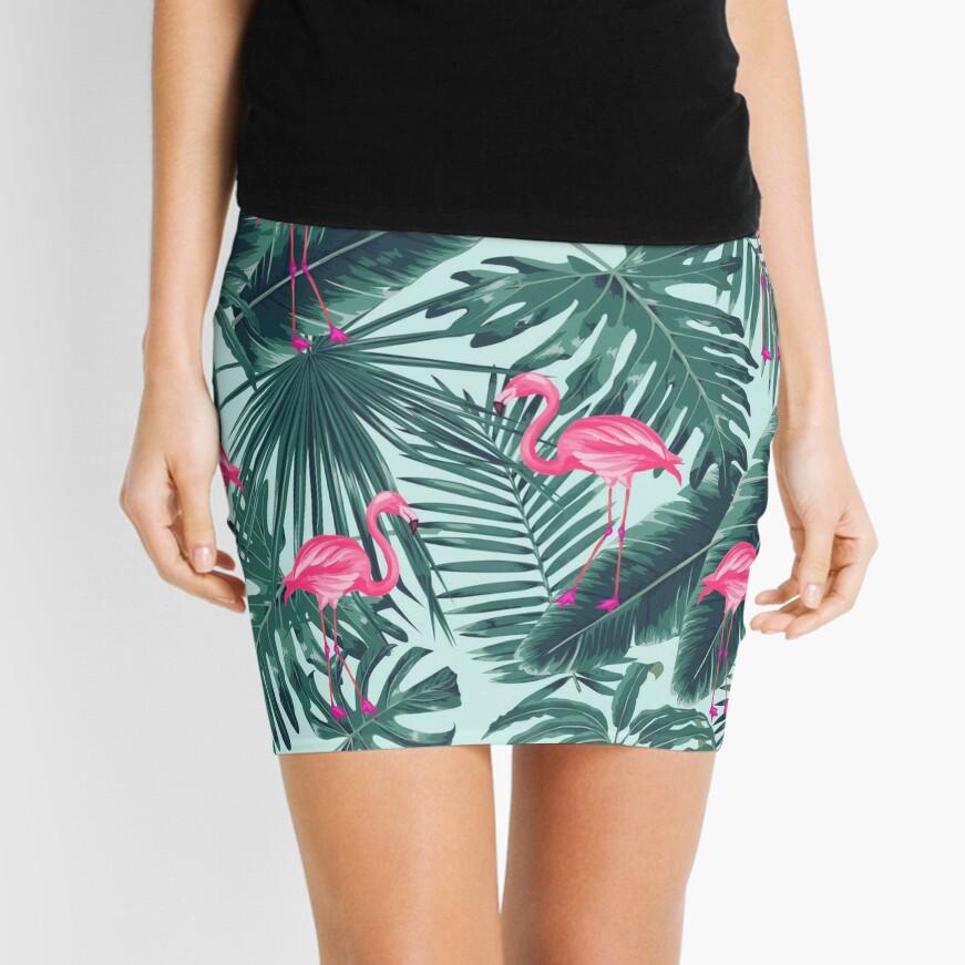 tropic abstract flamingo Mini Skirt