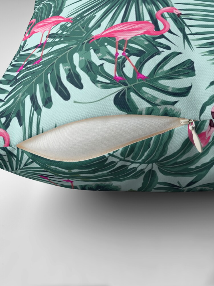 Alternate view of tropic abstract flamingo Throw Pillow