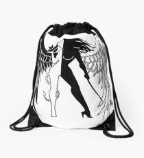 The Shadow Empire Black and white Drawstring Bag