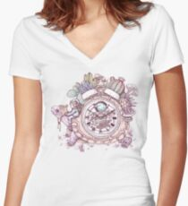 slow alarm clock Fitted V-Neck T-Shirt