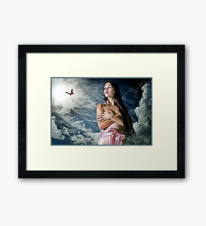 Waiting For Her Butterfly To Land... Framed Print