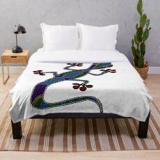 traditional Lizard dot art Throw Blanket