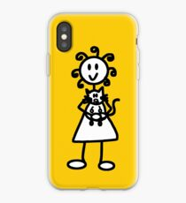 The Girl with the Curly Hair Holding Cat - Yellow iPhone Case