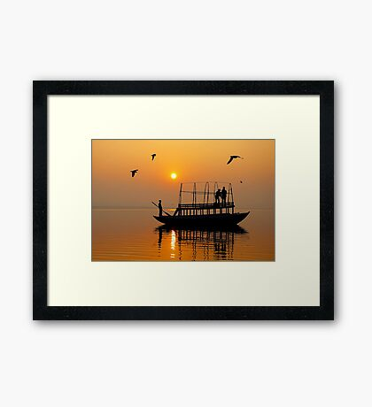 The Holy Ganga at Varanasi Framed Print