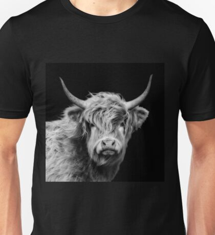 Highland Cow In Black And White Unisex T-Shirt