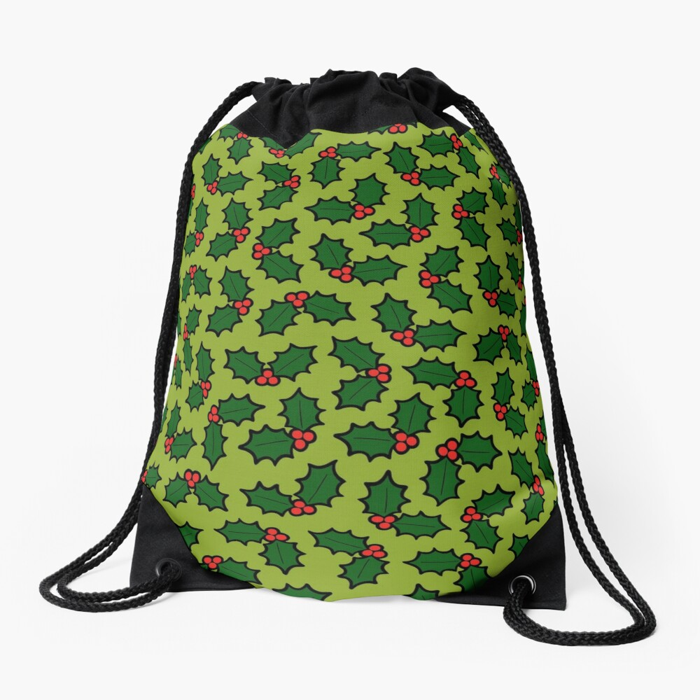 Holly Leaves and Berries Pattern in Light Green Drawstring Bag