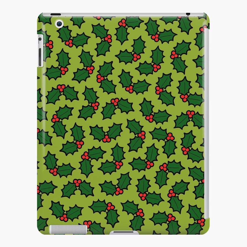 Holly Leaves and Berries Pattern in Light Green iPad Snap Case