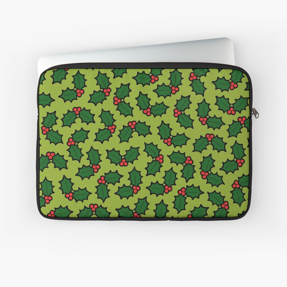 Holly Leaves and Berries Pattern in Light Green Laptop Sleeve