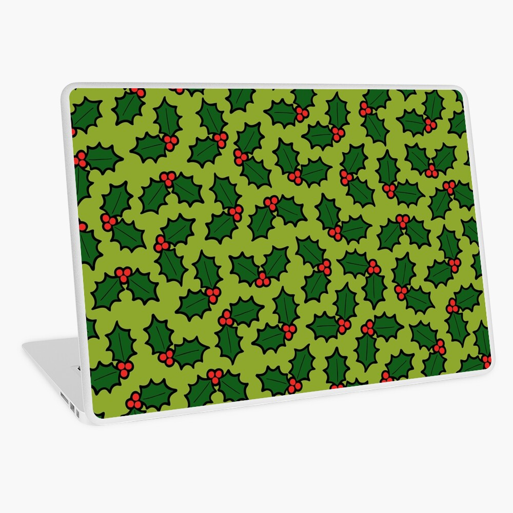 Holly Leaves and Berries Pattern in Light Green Laptop Skin