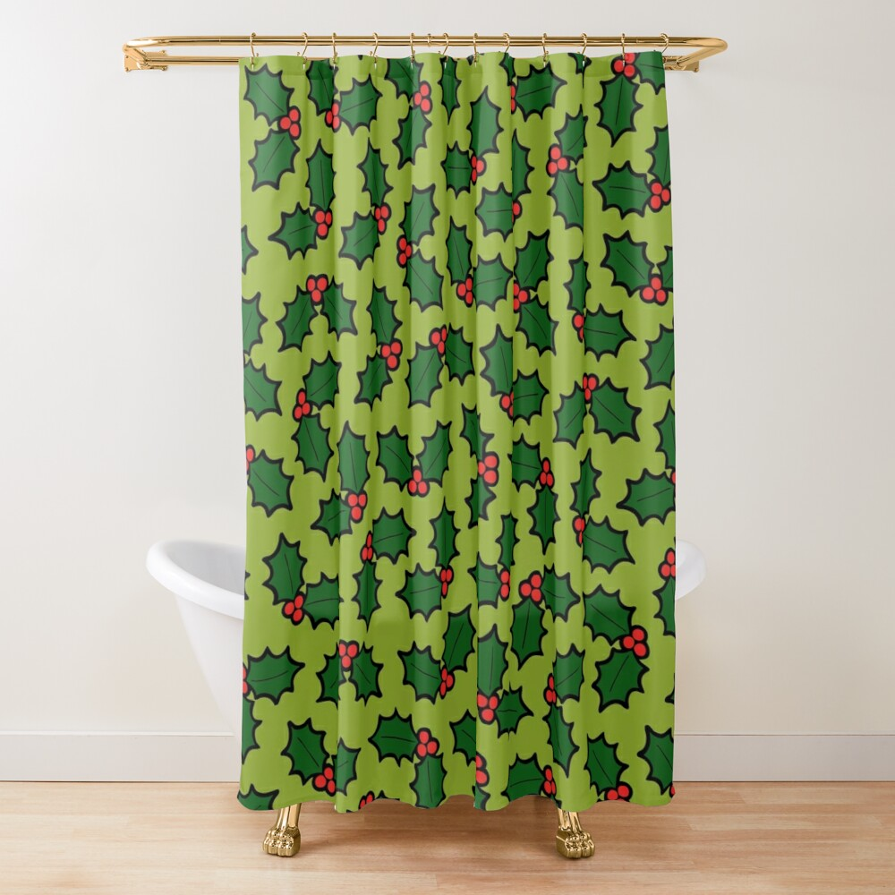 Holly Leaves and Berries Pattern in Light Green Shower Curtain