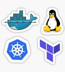 Docker, Tux, Kubernetes, Terraform Combo Pack Sticker