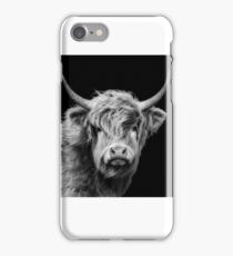 Highland Cow In Black And White iPhone Case/Skin