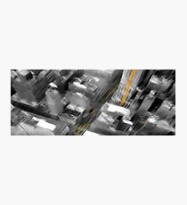 Cityscape Black White & Yellow Oil Painting Photographic Print