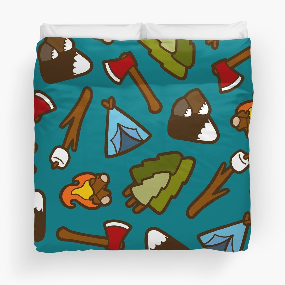 Camping is Cool Pattern Duvet Cover