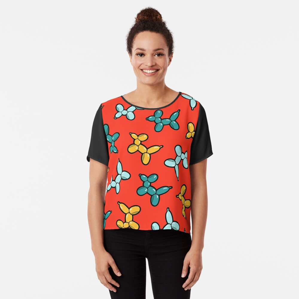 Balloon Animal Dogs Pattern in Red Chiffon Top