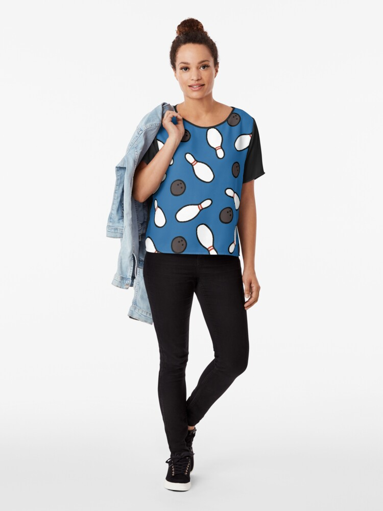 Alternate view of Bowling for Pins Pattern Chiffon Top