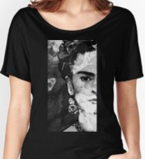 Black And White Frida Kahlo by Sharon Cummings Women's Relaxed Fit T-Shirt