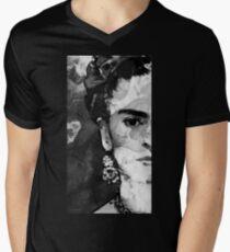 Black And White Frida Kahlo by Sharon Cummings Men's V-Neck T-Shirt