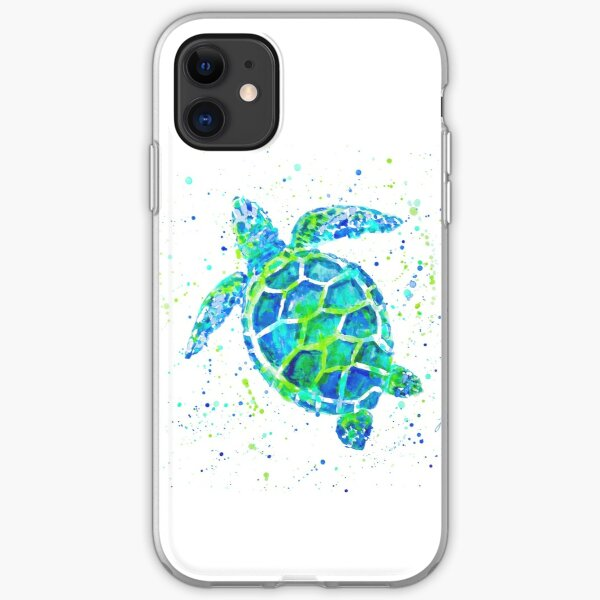 Sea Turtle with paint splats by Jan Marvin iPhone Soft Case