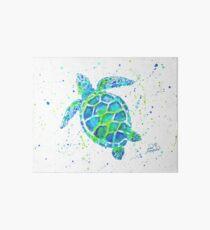 Sea Turtle with paint splats by Jan Marvin Art Board Print