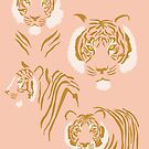 Tigers in Blush Pink + Gold by latheandquill