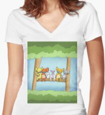 Multi coloured cute koala in a tree Fitted V-Neck T-Shirt