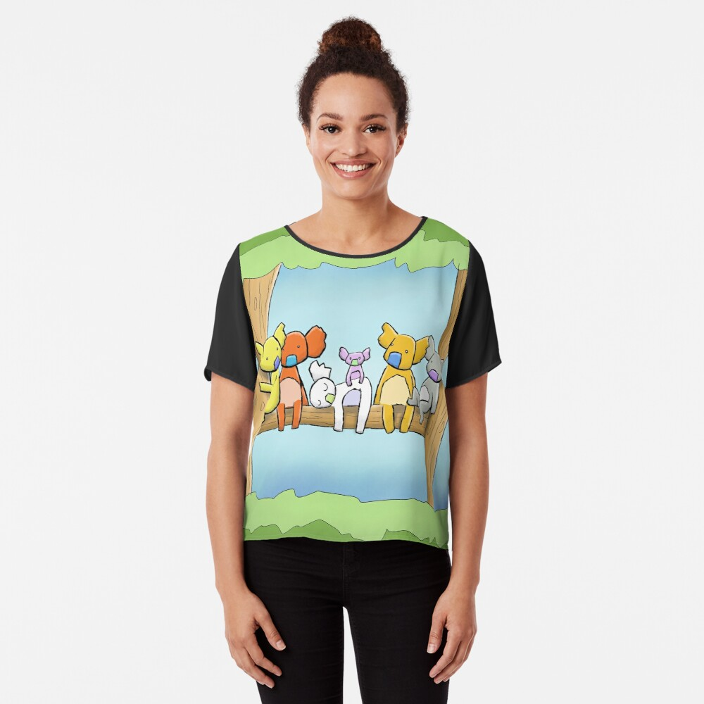 Multi coloured cute koala in a tree Chiffon Top