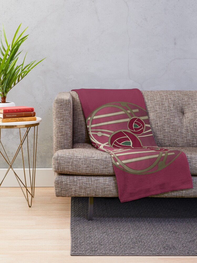 Alternate view of Art Nouveau Rose Gold Throw Blanket