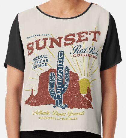 Red Rocks Colorado Vintage Chiffon Top