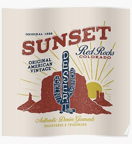 Red Rocks Colorado Vintage Poster