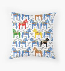 Dala horses pattern - swedish folk design Throw Pillow