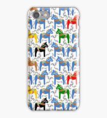 Dala horses pattern - swedish folk design iPhone Case/Skin