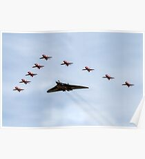 Red Arrows with XH558 Poster