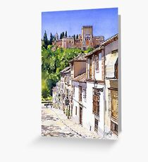 The Alhambra from Calle Victoria, Granada, Spain Greeting Card