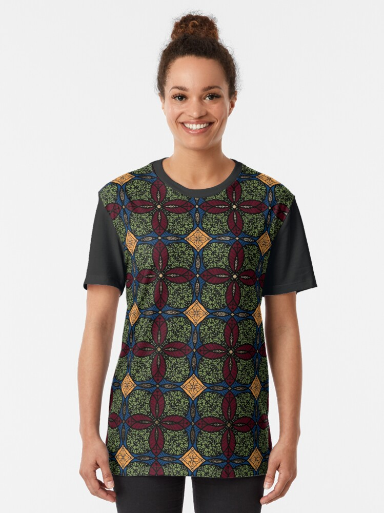 Alternate view of Ankara African print (olive). Graphic T-Shirt