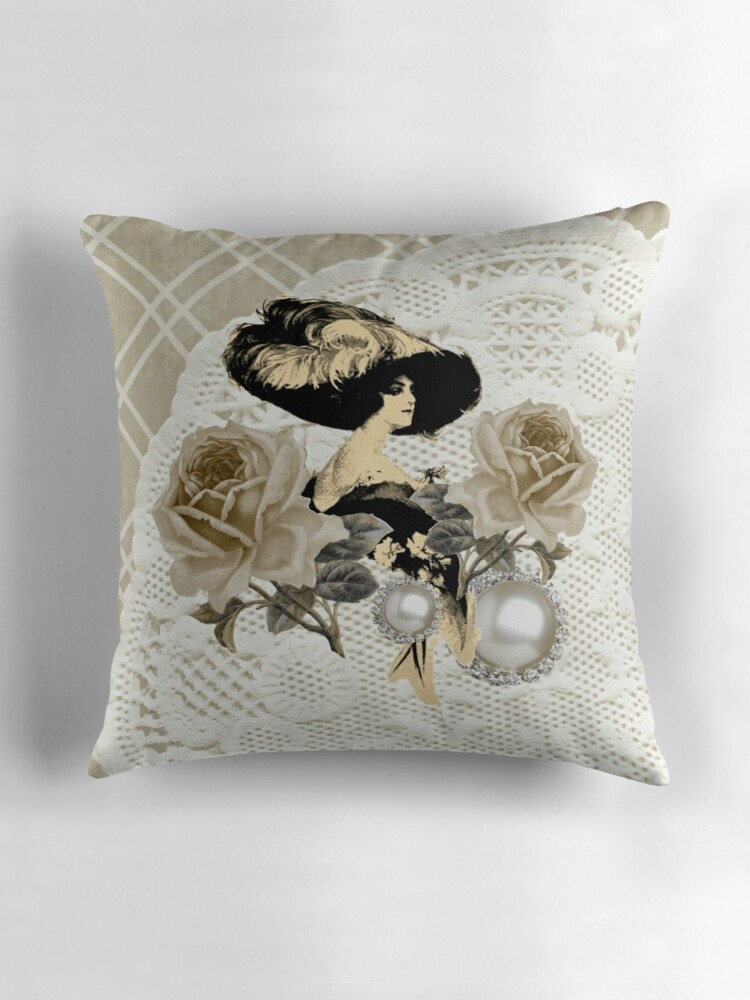 Ivory Lace Throw Pillow :